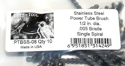 "10 pcs made in USA 1/2"" Power Tube Wire Brush Stainless Steel"