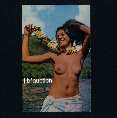 Tahiti HAPPY NUDE GIRL AT RIVERSIDE / NACKTES MÄDCHEN AM FLUSS * 1970s PC