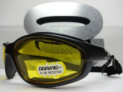 MOTORCYCLE BIKER RIDING DRIVING SHOOTING YELLOW LENS CHOPPERS GLASSES With Strap