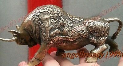 Oriental old Rich Coins ox Wealth Money Bull Lucky Bronze dragon statue