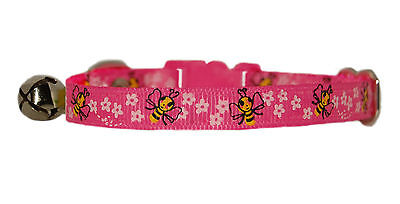 fabric purple & pink honey bees  safety kitten cat collar bell