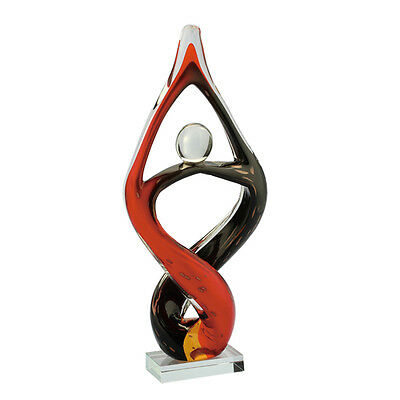 "New 14"" Large Hand Blown Art Glass Fused Sculpture Abstract Red Black Decorative"