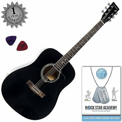 Stretton Payne Full Size Acoustic Guitar Dreadnought Steel String Black