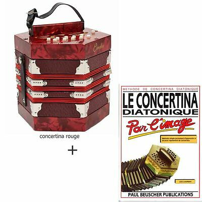 Pack concertina diatonique rouge + méthode d'apprentissage