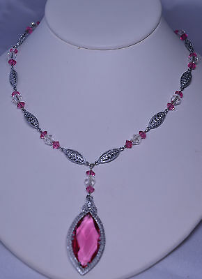 Antique Art Deco Filigree Huge Marquise Pink Glass Necklace With Sterling Clasp