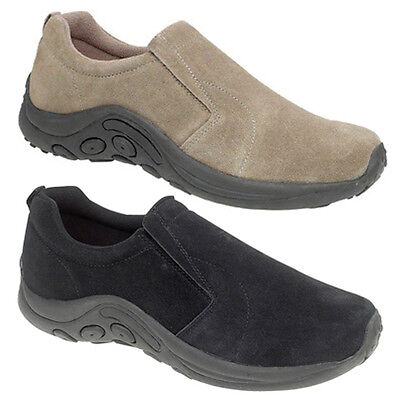Mens Leather Suede Slip On Comfort Shoes Taupe or Black 6 7 8 9 10 11 12 13 14