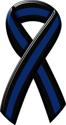 THIN BLUE LINE MEMORIAL RIBBON MAGNET