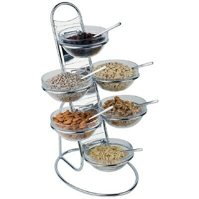 Buffet Food Display, Chrome Plated Ladder with 6 Glass Bowls, 480 x 300 x 300mm