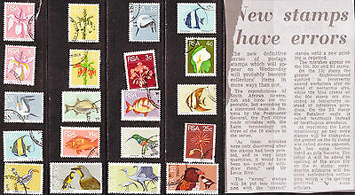 SOUTH AFRICA 1974 2nd DEFINITIVE SET COMPLETE USE SET with coils & errors BoB417