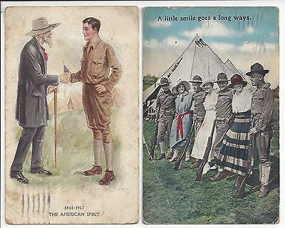 LOT 2 VINTAGE PATRIOTIC POSTCARDS WORLD WAR I SOLDIERS DOUGHBOYS