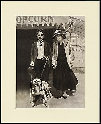 Charlie Chaplin And Staffordshire Bull Terrier Dog Print Mounted Ready To Frame
