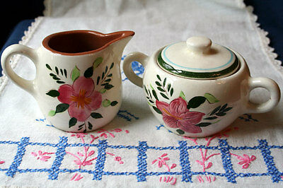 Stangl Country Garden Creamer and Sugar Bowl with Lid Set Vintage Flowers As Is