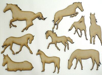 MDF Horse Wooden Shapes 5cm 50mm High 3mm Thick Custom Cut x 9 pieces 085