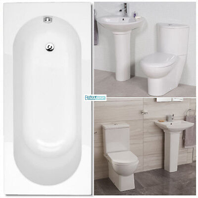 Bathroom Suite Toilet WC Basin Single Ended Straight Bath Wash Sink Close Couple