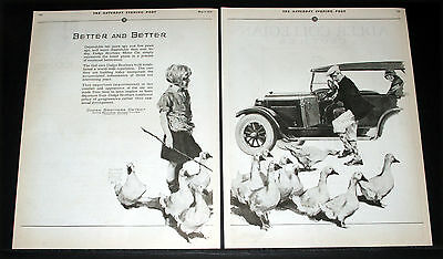 1925 Old Magazine Print Ad, Dodge Brothers Cars, Girl & Her Geese Prince Art!
