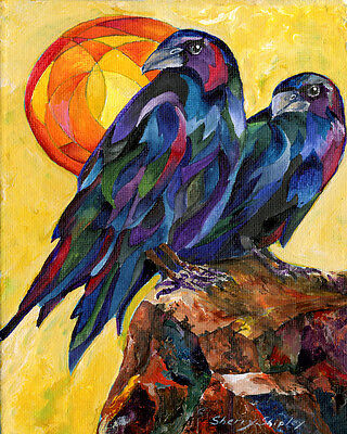 RAVEN PAIR 8X10 BIRDS CROWS Print from Artist Sherry Shipley