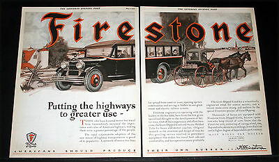 1925 Old Magazine Print Ad, Firestone Tires, Motor Bus & Buggy, Roadway Artwork!