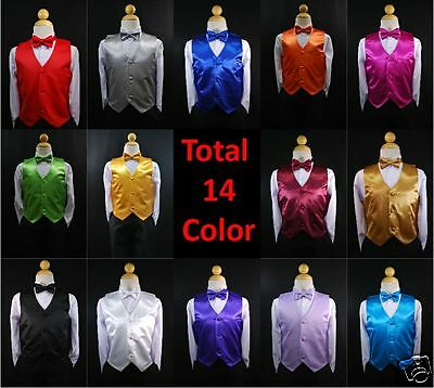 New Satin Vest + Bow Tie set  Baby,Toddler & Boy Formal Tuxedo Suit S M L XL-22