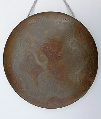 Original Rare 19th Century or Earlier Japanese Dragon Gong w/ Stick Mallet !
