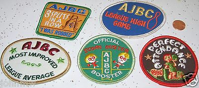 Lot of 5 Different Bowling Award Vintage AJBC League Cloth Patches