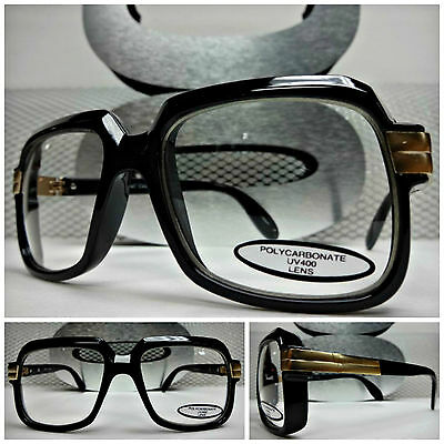 Mens Women CLASSIC RETRO VINTAGE FASHION Clear Lens EYE GLASSES Black Gold Frame
