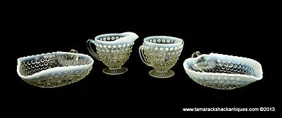 4pcs Moonstone White & Clear Opalescent Glass 2 Heart Nappies Creamer & Sugar