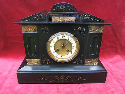 Slate vintage mantel clock large working ceramic dial matching pendulum key S2