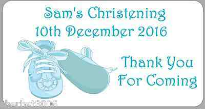 24 x Personalised Stickers Baby Boy Christening Blue Baby Shoes Medium Labels