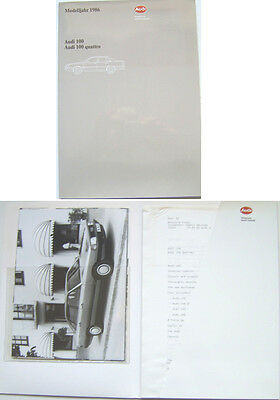 Audi 100 & 100 Quattro Saloon 1985-86 Original Press Kit In English CC CS CD