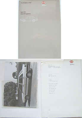 Audi 80 & 80 Quattro 1985-86 Original Press Kit In English Base CC CD GTE TD