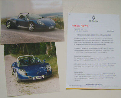 Renault Sport Spider original Press Release + 2 colour Press Photographs 1997
