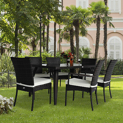 Rattan Garden Furniture Dining Set Patio Rectangular Table 6 Chairs Outdoor New