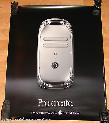"Vintage Apple Computer Power Mac G4 ""Quicksilver"" Poster c.2001 Think Different"