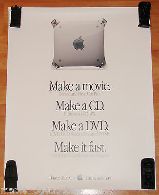 "Vintage Apple Computer Power Mac G4 ""Quicksilver"" Poster c.2001 Velocity Engine"