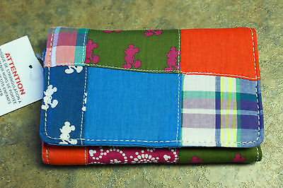 NWT Walt Disney World Parks MICKEY MOUSE Madras Plaid Patchwork Wallet- Teal