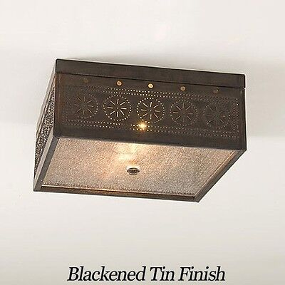 Square Flush Mount Ceiling Light w/ Chisel Punched Tin - Irvin's Country Tinware