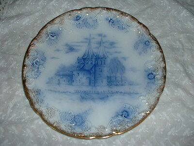 """Vintage-OLD-Delft Scalloped Plate w/gold trim.10 1/4"""" Marked""""Warwick ChinaDelft"""""""