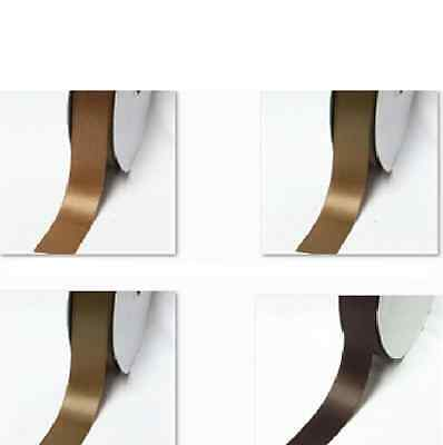 "DoubLe Faced Satin Ribbon 1"" /25mm WhoLesaLe 100 Yards Ivory to Brown coLor"