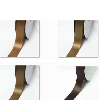 "Double Faced Satin Ribbon 1-1/2"" /38mm Wholesale 100 Yards Ivory to Brown"