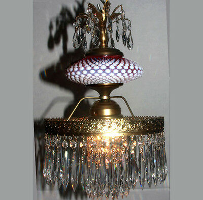Ceiling brass lamp opalescent Fenton Cranberry art Glass Crystal prism Lighting
