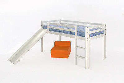 3ft Mid Sleeper WHITE Single FREE DELIVERY Slide Option Kids Cabin Bed Wood