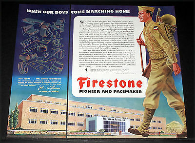 1945 Old Wwii Magazine Print Ad, Firestone, When Our Boys Come Marching Home!