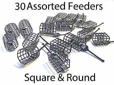 30 Assorted Cage feeders Square & round for carp,groundbait,river fishing