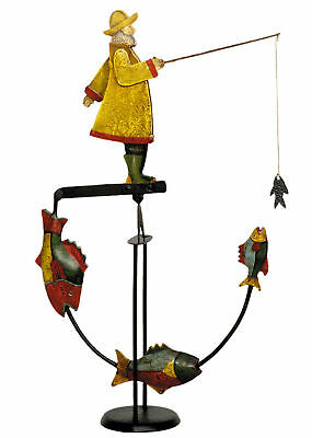 Antiqued Fisherman Sky Hook Teeter Totter Tin Metal Balance Toy