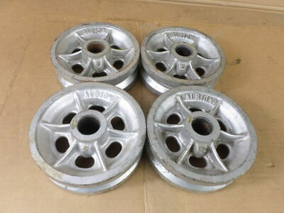 """Lot of 4 Albion 6"""" X 2"""" X 1-3/16"""" V-Groove Cast Wheels"""