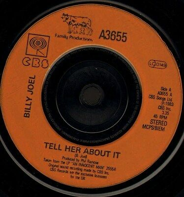 """BILLY JOEL tell her about it/easy money A3655 uk cbs 1983 7"""" WS EX/"""