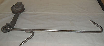DOUBLE meat hook w/ST JOHN & CO. PULLEY chicago 35""