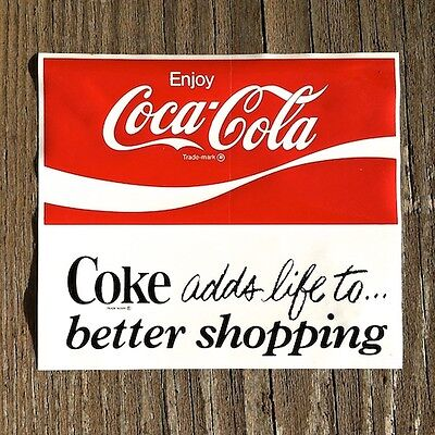 Vintage Original Coke COCA COLA SODA Window Decal Sticker Unused NOS 1960s Old