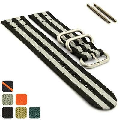 Two-piece NATO G10 Military Nylon Watch Strap Band Divers Brush Buckle Loops