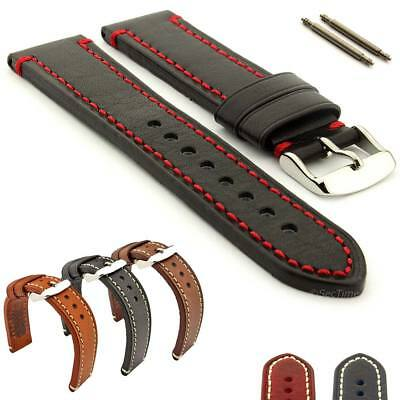 Men's Two-piece Genuine Leather Watch Strap Band Catalonia SS Buckle Spring Bars